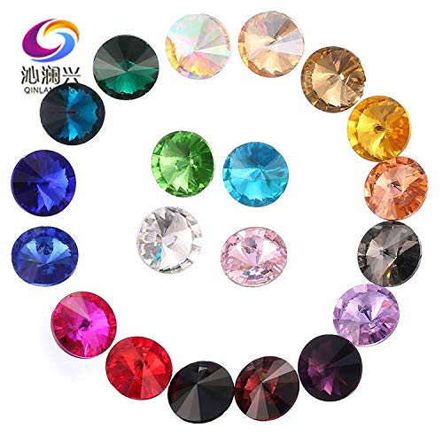 Pukido Round Shape pointback Glass Loose Rhinestones,Nail Art/DIY/Clothing Accessories 6mm/8mm/10mm/12mm/14mm/16mm/18mm - (Color: Deep Purple, Size: 16mm 20pcs)
