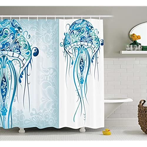 Exceptionnel Sea Creatures Artistic Nautical Coastal Decor By Ambesonne, Fabric Shower  Curtain Ocean Jellyfish With Paisley Pattern Theme Beach Fishy Prints  Design In ...