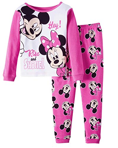 Disney Minnie Mouse Rise and Shine Little Girls Toddler Cotton Pajama Set,Pink,2T ()