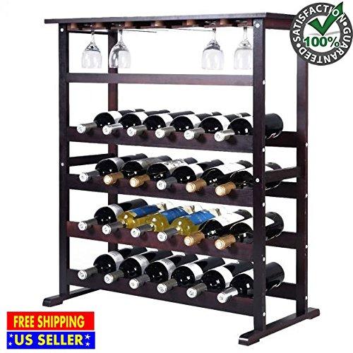 24 Bottle Wine Rack Storage Wood Holder Bottle Display Wooden Cabinet Shelf Home Kitchen Décor Bar Shelves w/ Glass Hanger Solid Liquor Stackable Tier Standing Organizer New by Produit Royal
