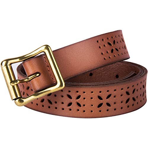 Belts for Womens Hollowr Flower Genuine Leather Belts With Vintage Needle Buckle(Hollowr-XS(27''-33'')) ()