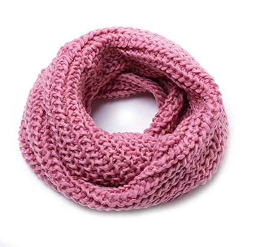 Jemis Women s Super Soft Winter Knit Warm Infinity Scarf (Free Size Pink)