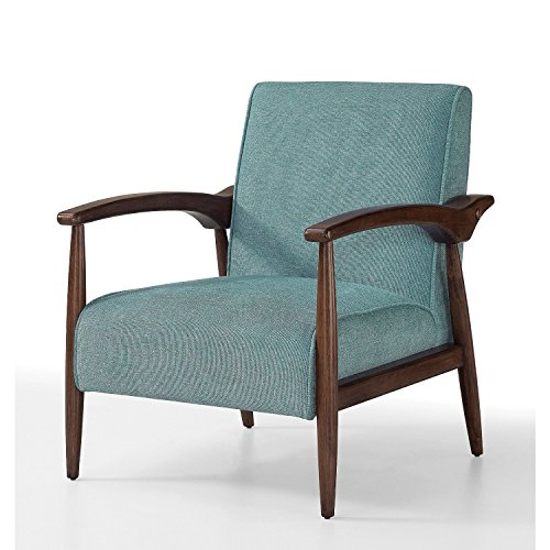 ModHaus Mid Century Accent Chair Aqua Upholstery | Espresso Wood Frame and Legs Includes ModHaus Living (TM) Pen