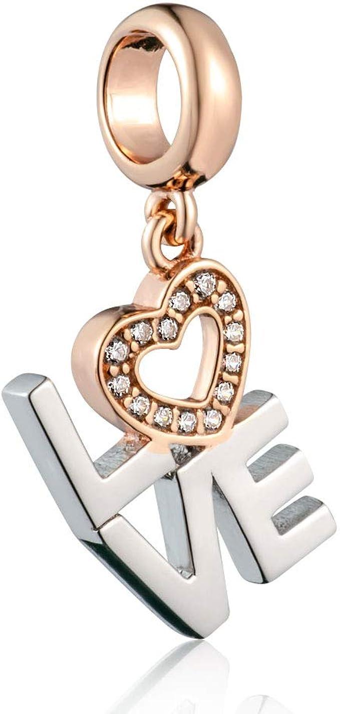 DIY Love Heart Silver CZ European Charm Beads Fit 925 Pendant Necklace Bracelet