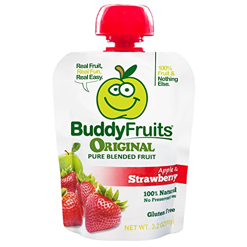 Buddy Fruits Pure Blended Fruit To Go, Strawberry, 3.2 Ounce Packages (Pack of 18)