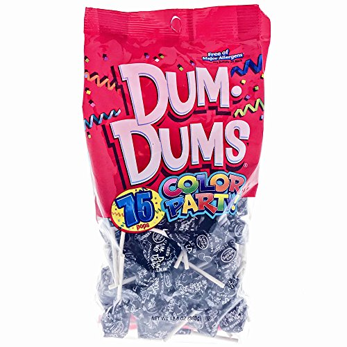 Black Dum Dums Color Party - Black Cherry Flavored - 75 Count Bag - 12.8 ounces - Includes Free How To Build a Candy Buffet Guide -