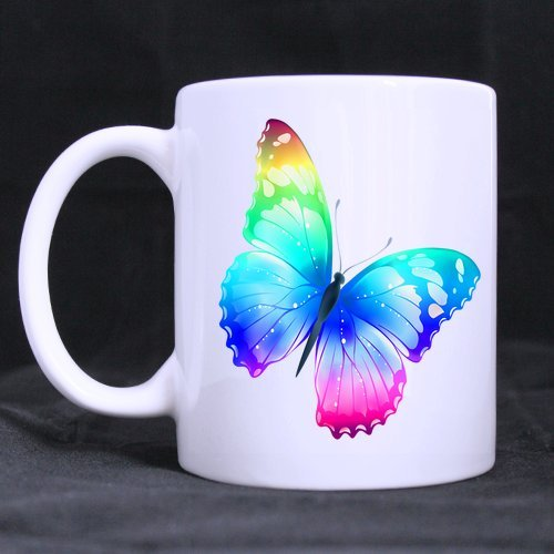 Multi Color Butterfly Tea/Coffee Mug/Wine Cup - 100% Ceramic 11-Ounce White Mug (Wine Dropshippers)