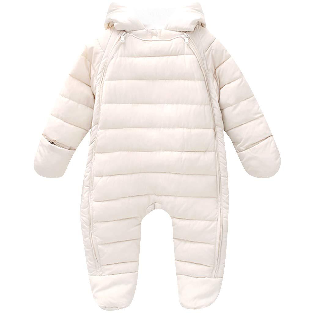 Pagliaccetto Neonato Appena Tuta a Maniche Lunghe con Cappuccio Abbigliamento Caldo per Bambini All'aperto Autunno Inverno
