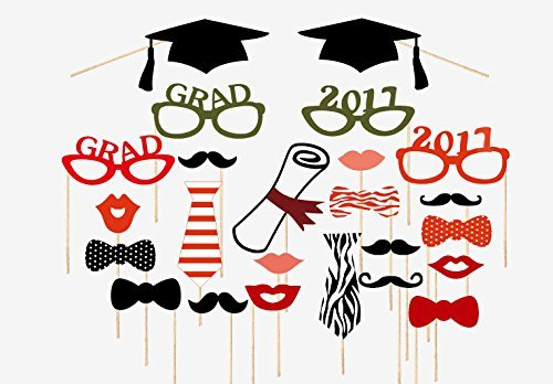 Graduation Party Photo Booth Props 2017, Graduation Party Decorations, Attached to the Stick, NO DIY REQUIRED, only by (Wedding Card Holder Box Red)