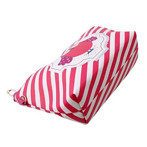HENGSONG Tragbare Eule Kosmetik Tasche Make Up Beutel PU Leder Reißverschluss Klein Geldbeutel Toilettenartikel Organizer Reise Make-up Clutch Bag (Hot Pink)