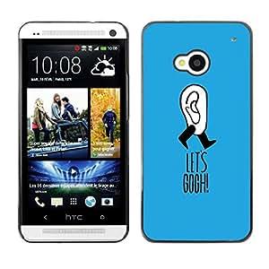 Caucho caso de Shell duro de la cubierta de accesorios de protección BY RAYDREAMMM - HTC One M7 - Gogh Joke Blue Funny Artist Clever
