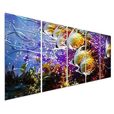 Colorful Tropical School of Fish Metal Wall Art, Large Metal Wall Decor in Tropical Ocean Design, 3D Wall Art for Modern and Contemporary Décor, 5-Panels 24 x 64 , Great for Indoors and Outdoors