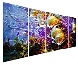 Colorful Tropical School of Fish Metal Wall Art, Large Metal Wall Decor in Tropical Ocean Design, 3D Wall Art for Modern and Contemporary Décor, 5-Panels 24''x 64'', Great for Indoors and Outdoors