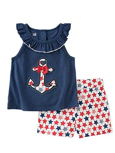 Kids Headquarters Infant Girls Anchor Shirt & Star Shorts Pa