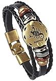 Hamoery Punk Alloy Leather Bracelet for Boys Constellation Braided Rope Bracelet Bangle Wristband(Scorpio)
