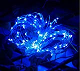 LED Copper Wire Starry String Lights 5M 50leds With Battery Powered for Gardens, Outdoor, Homes, Party Lamp, Romantic Wedding Decoration, Christmas Light XMAS Decor Light (Blue)