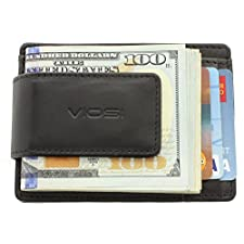 Viosi Genuine Kingston Leather Magnetic Front Pocket Money Clip Made with Powerful RARE EARTH Magnets