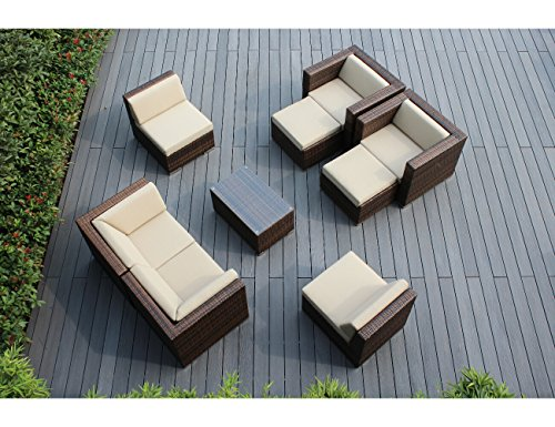 Ohana 9-Piece Outdoor Patio Furniture Sectional Conversation Set, Mixed Brown Wicker with Beige Cushions – No Assembly with Free Patio Cover For Sale