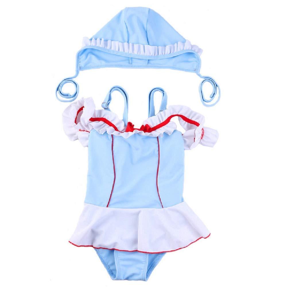 Yunqir Kids Wetsuit 2 Pcs/Set Children's One Piece Swimsuits KidsSolid Color Sunscreen Wetsuit for Water Sports(Blue)
