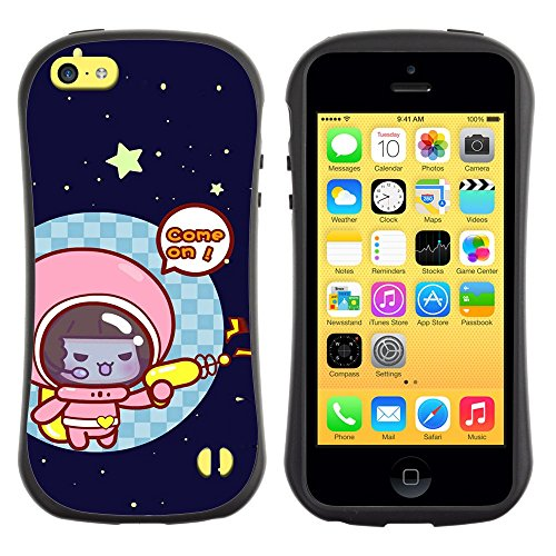 All-Round Hybrid Rubber Case Hard Cover Protective Accessory Gerneration-I Compatible with Apple iPhone 5C - Funny Cute Space Cat Kitten