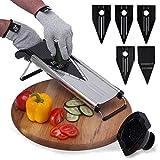 [Improved] Mandoline Slicer V-Blade + FREE Cut-Resistant Gloves - Stainless Steel Adjustable Vegetable Mandolin Food Slicer, Julienne Cutter - Includes 5 Inserts, Food Holder & Blade Guard