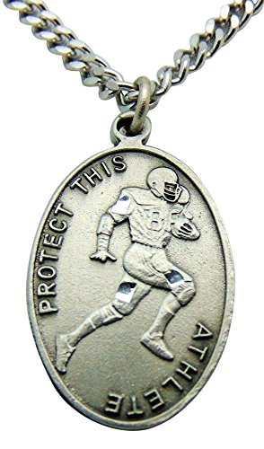 Solid Pewter Football Medal with Chain and Saint Sebastian Holy Card Boxed Set