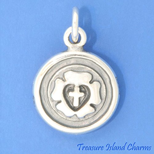 (Lutheran Rose Luther Seal Cross 2-Sided .925 Solid Sterling Silver Charm Pendant Ideal Gifts, Pendant, Charms, DIY Crafting, Gift Set from Heart by Wholesale Charms)