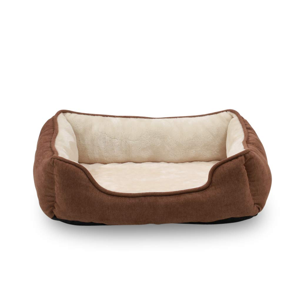 Brown with Orthopedic foam Happycare Textiles Orthopedic Rectangle Bolster Pet Bed,Dog Bed, Super Soft Plush, Medium 25x21 inches Brown
