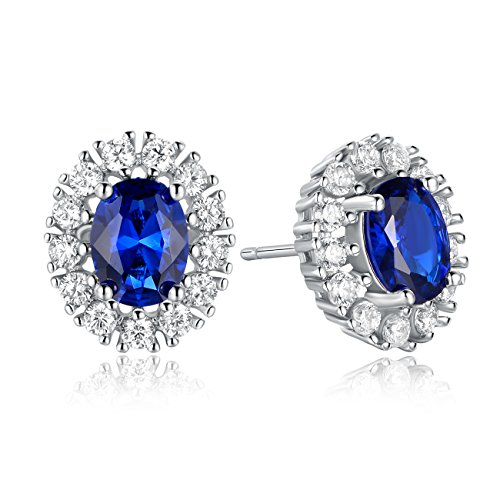 GEMSME 18K White Gold Plated Created Sapphire And Cubic Zirconia Stud Earrings For (18k White Gold Plated Sapphire)