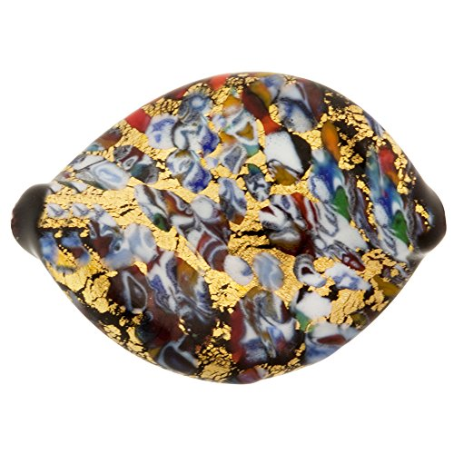 Murano Glass Bead KLIMT Inspired Twist 30x22mm Black Base Frit and Gold Foil - Murano Glass Focal Bead