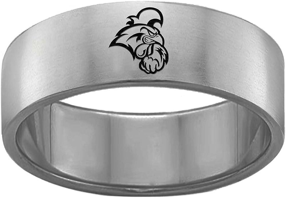 Coastal Carolina Chanticleers Single Logo Rings Stainless Steel 8MM Wide Ring Band Size 6
