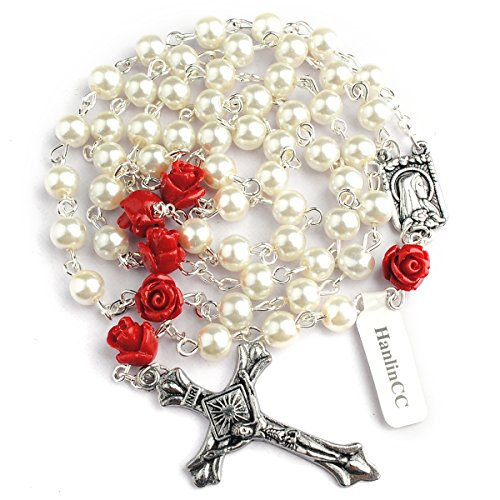Hedi 6mm Glass Pearl Beads Catholic Rosary with Lourdes Center Piece