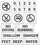Pool Stencil Kit For Painting Safety Markers (with Graphic), 12'' x 12''