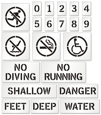 Pool Stencil Kit For Painting Safety Markers (with Graphic), 12'' x 12'' by SwimmingPoolSigns