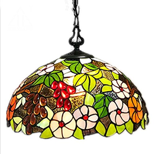 (Glight Tiffany Style Pendant Lamp 16 Inch Stained Glass Grape Design Pendant Light, Creative Personality Living Room Bedroom LED Pendant Lamp E27 (Without Light Source))