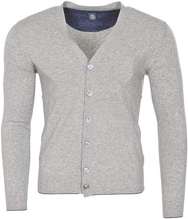 Eleventy cárdigan Hombre Gris Azul Slim Fit algodón Casual M: Amazon.es: Ropa y accesorios