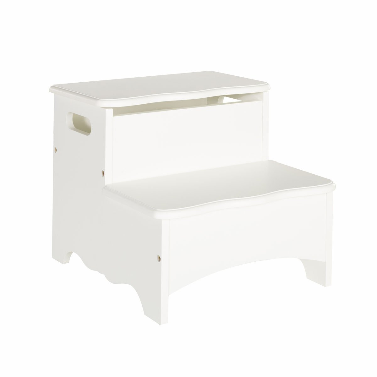 Guidecraft Kids Home Office Living Room Classic White Storage Step Up Stool