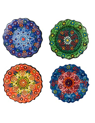 "Ayennur Turkish Decorative Plates Set of 4-5.11"" Multicolor Handmade Ceramic Ornament for Home&Office Wall Decors (Multi 1)"