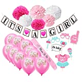 Baby Shower Decorations for Girls (22-Piece Set) Pink Gender Reveal Celebration & Party Décor   Balloons, Paper Flowers, Bunting, Photo Booth Props