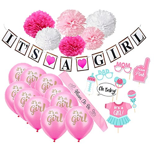 Baby Shower Decorations for Girls (22-Piece Set) Pink Gender Reveal Celebration & Party Décor | Balloons, Paper Flowers, Bunting, Photo Booth Props ()