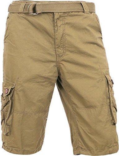 MP Mens Premium Cargo Shorts With Belt Outdoor Twill Cotton Loose Fit Multi Pocket Pants (38, Light Khaki) ()