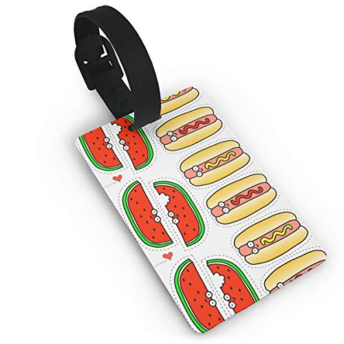 Watermelon Art Sausage Cute Funny Themed Printed Rolling Airplane Luggage Accessories Name Tag Travel Suitcase Identifier Set Bag Durable Labels For Women Men Kids Girls (Lao Sausage)
