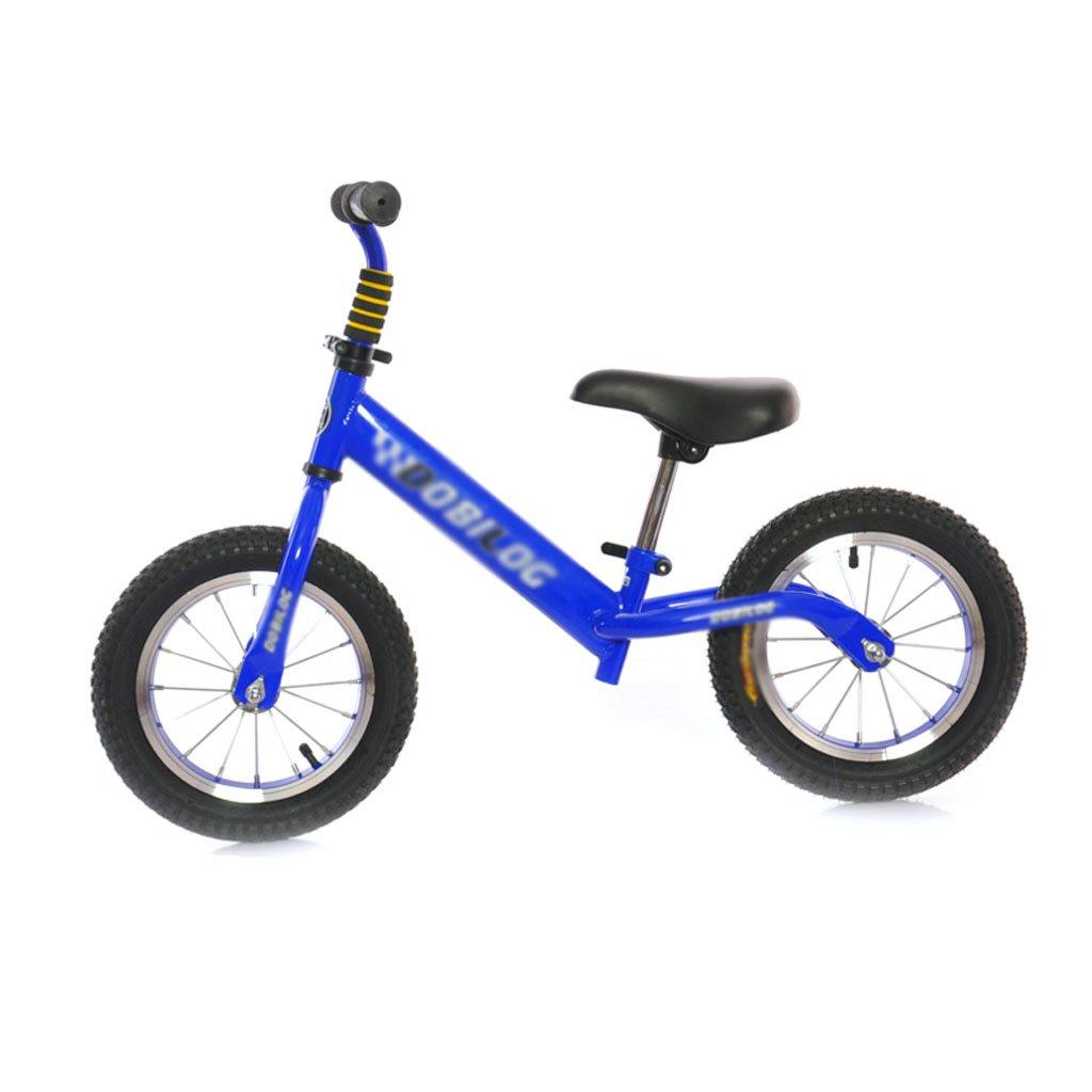 子供のスクーターペダルなしバギー子供ダブルホイール自転車ベビースクーターバランス車のインフレータブル子供スクーター2ラウンドウォーカー12インチ2歳から6歳 B07FHXGS6MBlue