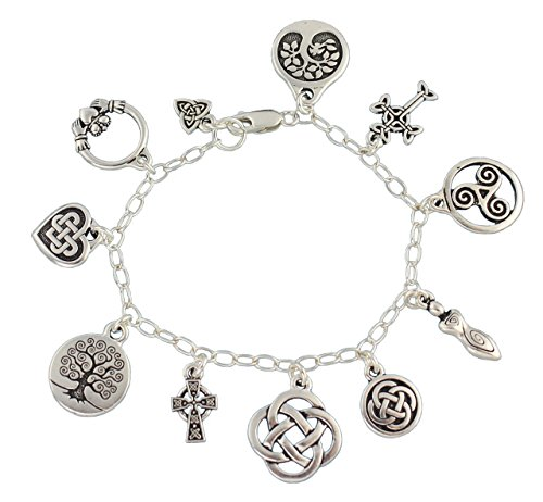 Celtic Symbols Silver Charm Bracelet - Claddagh, Celtic Knots, Tree of life, Cross, Goddess- 7 Inches (S) (Charm Womens Celtic)