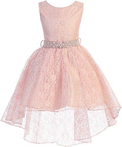 (Little Girl High Low Floral Lace Rhinestones Pearl Belt Easter Pageant Flower Girl Dress Blush 2 JK3744 )