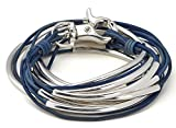 "Lizzy Classic Silverplated 5 Strand Natural True Blue Leather Wrap Bracelet (XLarge (7 1/8'' - 7 3/8""))"