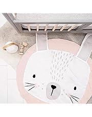 Ginkago Kids Nursery Rug Children Play Mat Round Carpet Cartoon Rabbit Design Home Room Decor(Size:35X37 inches) (Pink)