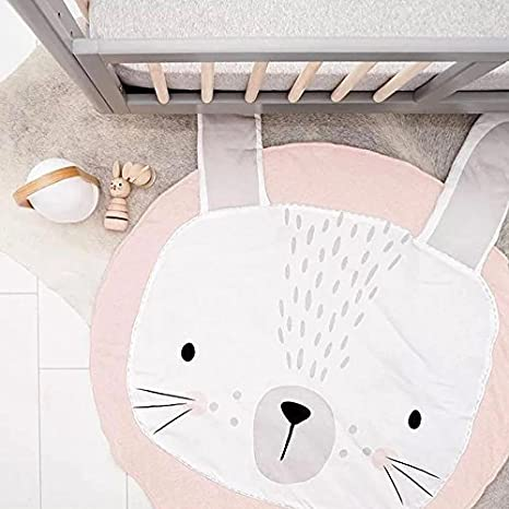Ginkago Kids Nursery Rug Children Play Mat Round Carpet Cartoon Rabbit Design Home Room Decor(Size:35X37 inches) (Pink)