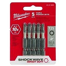 """MILWAUKEE ELEC TOOL 48-32-4685 2"""" T25 Torx Bit (5 Pack)"""