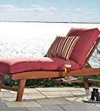 "Weather-Resistant Outdoor Classic Chaise Cushion 65"" x 23"" x 4"" - hinged 46"" from bottom, in Brick"